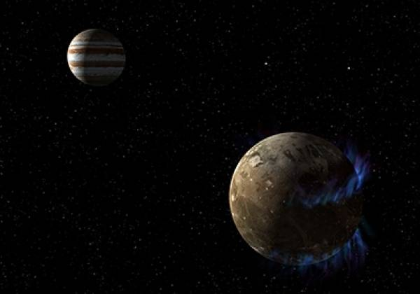 Ganymede in the foreground and Jupiter in the background