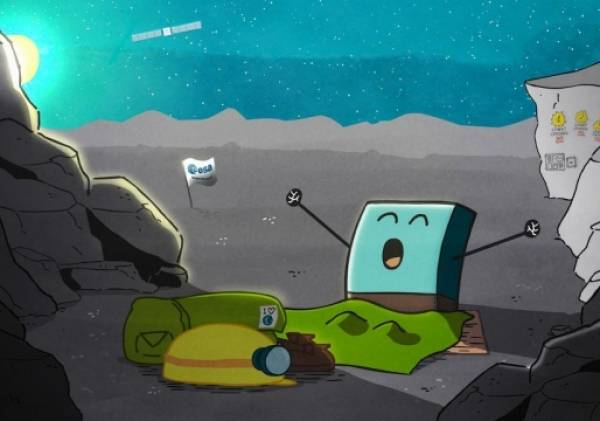 A cartoon depicting that Philae is awake!